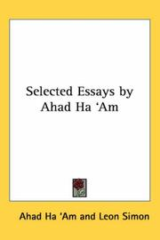 Cover of: Selected Essays by Ahad Ha 'Am