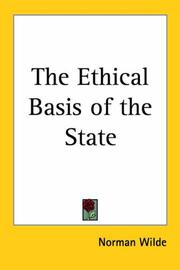 Cover of: The ethical basis of the state