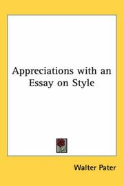 Cover of: Appreciations With An Essay On Style | Walter Pater