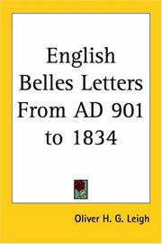Cover of: English Belles Letters From AD 901 to 1834