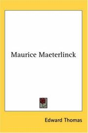 Cover of: Maurice Maeterlinck | Edward J. Thomas