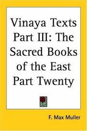 Cover of: Vinaya Texts Part III