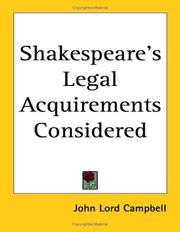 Cover of: Shakespeare's Legal Acquirements Considered
