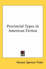Cover of: Provincial Types in American Fiction