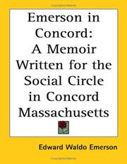 Cover of: Emerson in Concords: A Memoir Written for the Social Circle in Concord Massachusetts