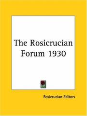 Cover of: The Rosicrucian Forum 1930