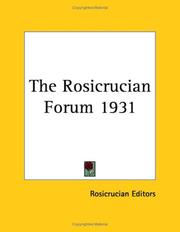 Cover of: The Rosicrucian Forum 1931
