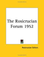 Cover of: The Rosicrucian Forum 1952