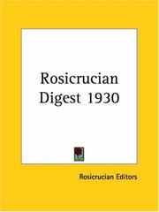 Cover of: Rosicrucian Digest 1930