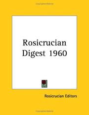 Cover of: Rosicrucian Digest 1960