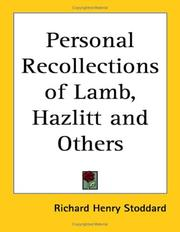 Cover of: Personal recollections of Lamb, Hazlitt, and others