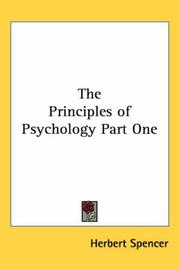 Cover of: The Principles of Psychology Part One