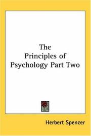 Cover of: The Principles of Psychology Part Two