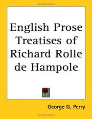 Cover of: English Prose Treatises of Richard Rolle de Hampole