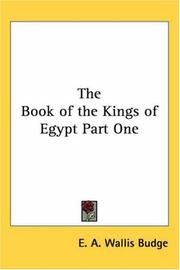 Cover of: The Book of the Kings of Egypt Part One