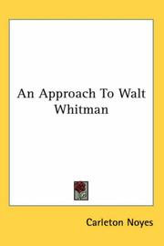 Cover of: An Approach to Walt Whitman