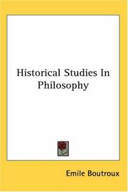 Cover of: Historical Studies in Philosophy | Emile Boutroux
