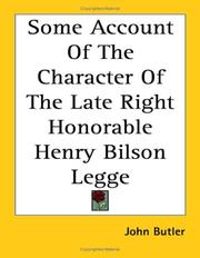 Cover of: Some Account of the Character of the Late Right Honorable Henry Bilson Legge