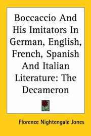Cover of: Boccaccio and His Imitators in German, English, French, Spanish and Italian Literature