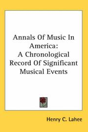 Cover of: Annals of Music in America