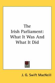Cover of: The Irish Parliament