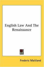 Cover of: English law and the renaissance