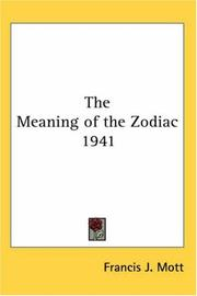 Cover of: The Meaning of the Zodiac 1941