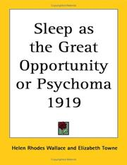 Cover of: Sleep as the Great Opportunity or Psychoma 1919