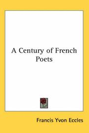 Cover of: A Century of French Poets | Francis Yvon Eccles