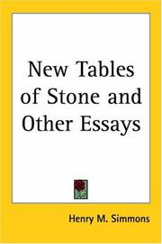 Cover of: New Tables of Stone And Other Essays | Henry M. Simmons