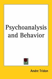 Cover of: Psychoanalysis and Behavior