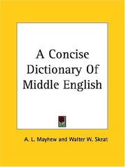 Cover of: A Concise Dictionary Of Middle English | A. L. Mayhew