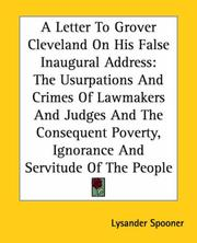 Cover of: A Letter To Grover Cleveland On His False Inaugural Address: