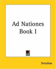 Cover of: Ad Nationes: Book I