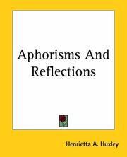 Cover of: Aphorisms And Reflections