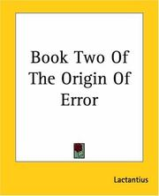 Cover of: Book Two Of The Origin Of Error