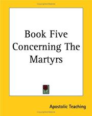 Cover of: Book Five Concerning The Martyrs