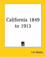 Cover of: California 1849 To 1913