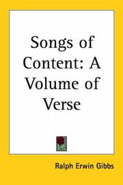 Cover of: Songs of Content | Ralph Erwin Gibbs