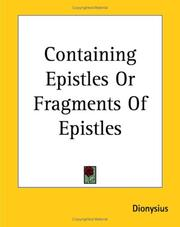 Cover of: Containing Epistles Or Fragments Of Epistles