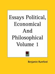 Cover of: Essays Political, Economical And Philosophical