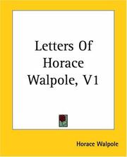 Cover of: Letters Of Horace Walpole | Horace Walpole
