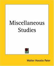 Cover of: Miscellaneous studies