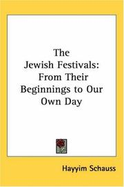 Cover of: The Jewish Festivals