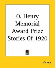 Cover of: O. Henry Memorial Award Prize Stories of 1920