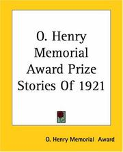 Cover of: O. Henry Memorial Award Prize Stories Of 1921