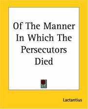 Cover of: Of The Manner In Which The Persecutors Died