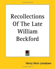 Cover of: Recollections Of The Late William Beckford
