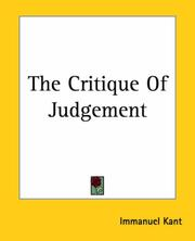 Cover of: The Critique Of Judgement | Immanuel Kant