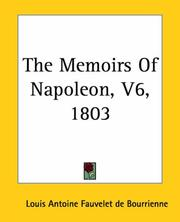 Cover of: The Memoirs Of Napoleon 1803